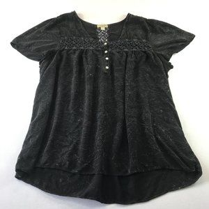 One World Top size 3X Marbled Black Grey Rayon